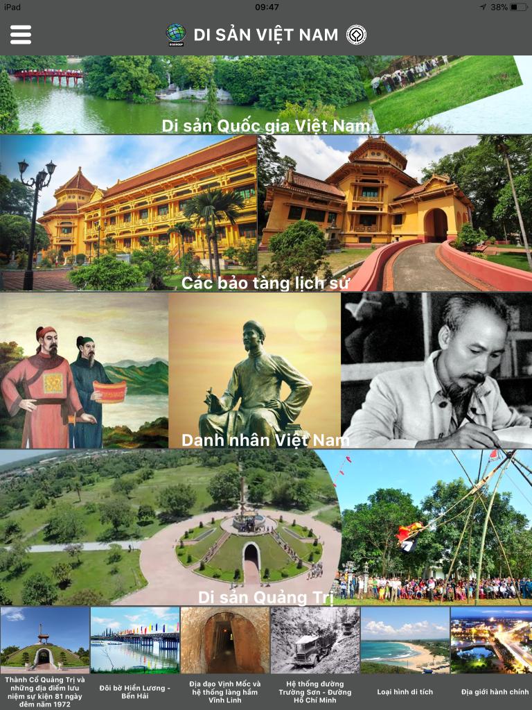 Giao diện App Di sản Việt Nam1